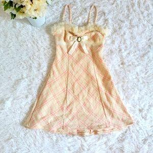 Liz Lisa Pink and Cream Fur Trim Dress Sz Small